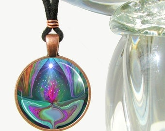 "Violet Flame Necklace, Reiki Jewelry, Energy Art Pendant Necklace ""Violet Flame"""