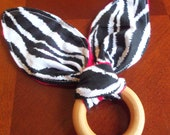 Wooden Teething Ring Toy. Zebra Print with Red Minky, Baby Teether, Montessori, Bunny Ear Teething, Toy Teether, Shower Gift, Newborn Toy