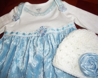 Layette Gown Set Sky Blue with White Beanie