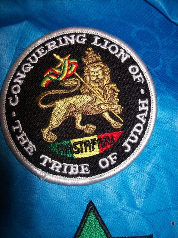 Rasta hippie Applique, sew on or iron on patch, The tribe of Judah, conquering lion