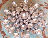 50's Large Round Clear Rhinestone Vintage Brooch, Wedding Brooch Pin
