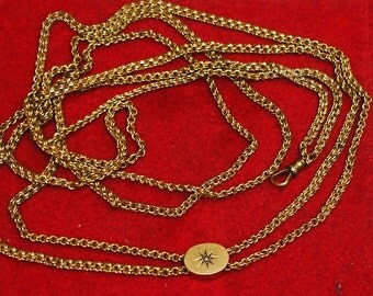 Antique Victorian Gold Filled Rope Style Watch Chain with 10K Gold & Seed Pearl Slde