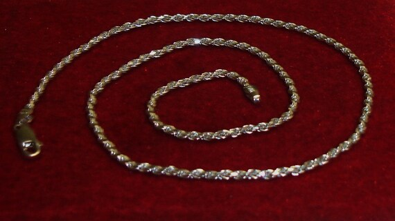 Vintage Sterling 925 Silver Solid Italy Rope Chain Necklace UNISEX