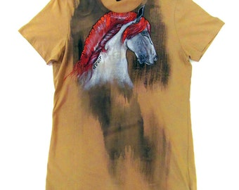 Hand Painted Red Horse illustrative T-Shirt Medium to Large
