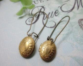 Petite Brass Oval Locket Earrings. Gift for her.