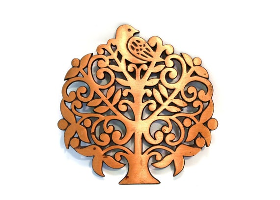 Vintage Bird in a Tree Copper Trivet