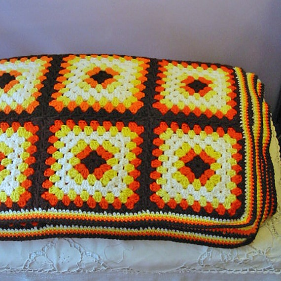 GRANNY SQUARE Autumn AFGHAN Blanket, Brown Orange Yellow White Crochet Dbl Bed, Comfy Wool Blend Winter Chill Chaser, Dude Guy 60 x 66