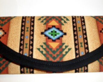 Southwestern, Native American Indian Cotton Fabric, 7.50  x 4, Wallet, Clutch, Envelope, Bags Purse, Triangles Cevron, turquoise, Brown