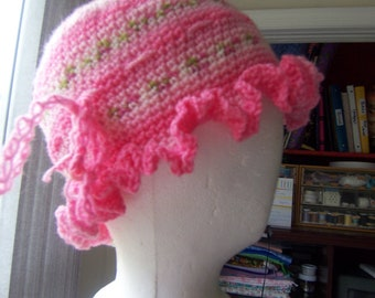 hat pink, ruffle pink hat, pink and green hat