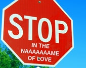 Stop In the NAAAAAAME of Love Stop Sign Addition Decal