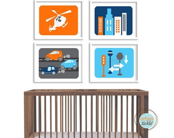 Modern City Art Prints for Child's room, Modern City Life, set of 4, 11X14, Nursery decor, Boys room decor