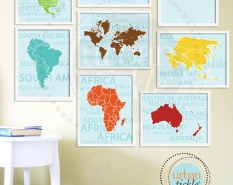 Custom Listing for SANA, World Map Art for Nursery, Travel List and Continents, Set of Four, 8.5X11 Inches
