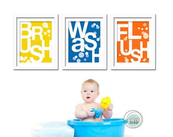 Bathroom Prints for kids, Set of 3,  Bathroom Basics, 8.5X11 Inches, Brush, Flush, Wash, Typography, Wall Art, Holiday Gift