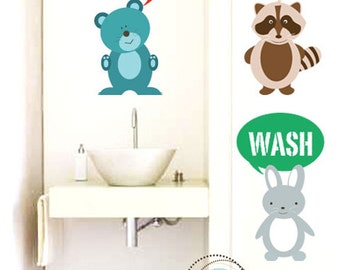 Bathroom Decals for kids, Art for Kids, Set of 3,  Bathroom Creatures, 28X16 Inches, More Sizes, Animals, Wall Art, Holiday Gift