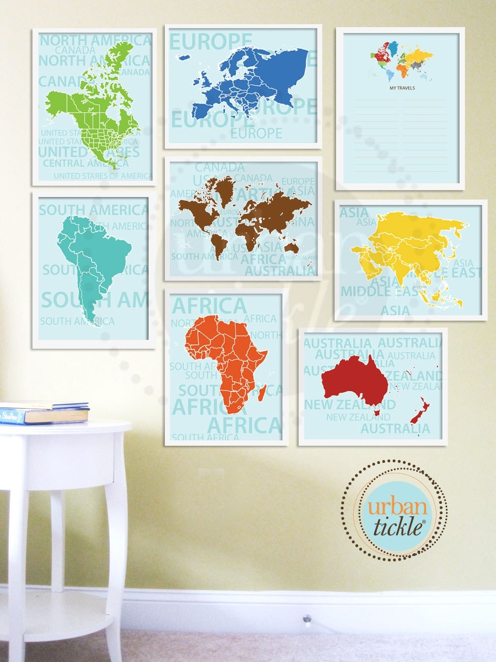 World Map Art for Nursery Travel List and Continents Set of