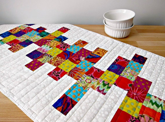 Quilted Table Runner Modern White Bright Colors