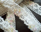 Vintage, Beaded  Ivory Cotton Crocheted Lace almost 1 inch Wide,  Bridal Accessory. Scrapbooking, Costume Design