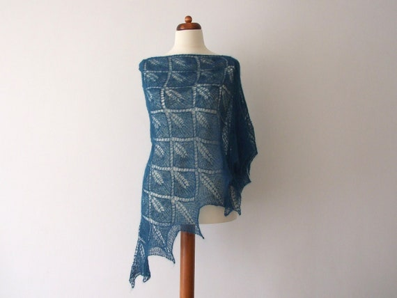 knit teal lace shawl triangle leaf motif light delicate big