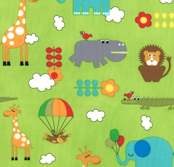Bungle Jungle - Critters Lime by Tim and Beck for Moda Fabrics - 3/4 Yard Remnant