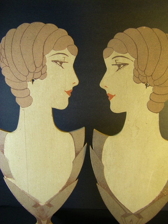 Rare Pair of Antique Art Deco Store Jewelry Display Busts