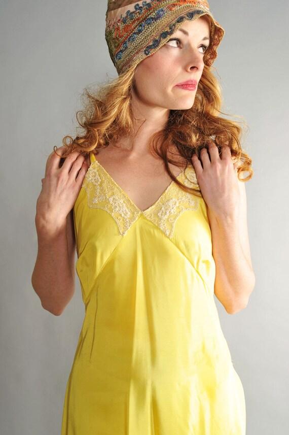 1930s bias cut silk and lace slip dress // 30s bias cut yellow slip dress // Canary Yellow Girl
