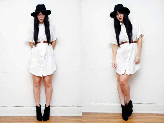 SALE White Embossed Floral Slouch Shirt Dress