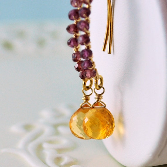 Citrine Earrings Gold Raspberry Rhodolite Garnet Semiprecious Wire Wrapped Gemstone Jewelry Complimentary Shipping