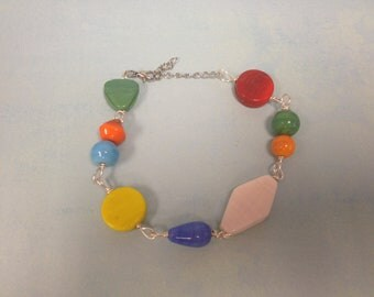 Bright Glass Bead Anklet