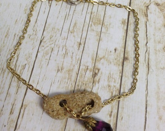 Beach Rock and Purple Victorian Crystal Charm Bracelet/Anklet