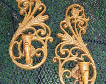Vintage Ornate Set of Syroco Candle Sconces