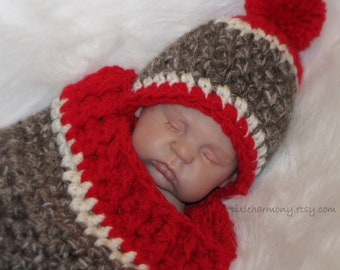 Baby SOCK MONKEY Inspired - Made to Order - Cocoon and Hat - Newborn - Taupe Red -Off-White - Photo Prop - Crochet - Reborn Doll