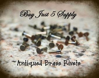 "Rivets, Brads, Antiqued Brass, Nail Head, 1/4"" for Riveting Your Metal Blanks, Filigree, Jewelry, Leather.. 50 for You"