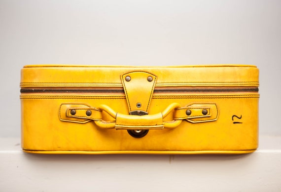 Vintage Canary Yellow Leather Suitcase RARE Worn Leather Honeymoon Luggage for Home Decor and Storage 1960s