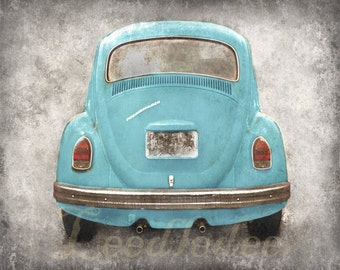 VW Beetle Backside - Baby Blue (or CHOOSE your color) - Vintage Style Original Photograph