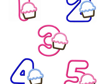 Birthday Cupcake Applique Number Set 1-5 Machine Embroidery Designs 4x4 5x7 INSTANT DOWNLOAD
