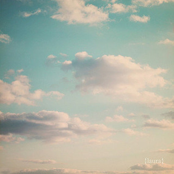 Cloud Photography, Dreamy Clouds, Big Blue Sky, Baby Nursery, Home Decor, Fine Art Photography