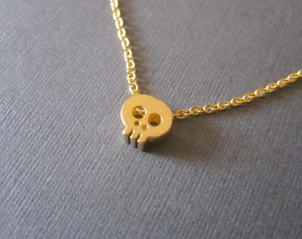 Gold Tiny Skull Necklace