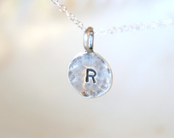 CUSTOM - Stamped Sterling Silver Stamped Initial Necklace