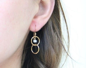Little Moon - Moonstone Dangle Ring Earrings - 14K Gold Filled