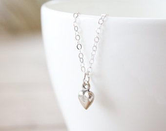 Sterling Silver Tiny Heart Bracelet - simple minimalist tiny everyday delicate jewelry
