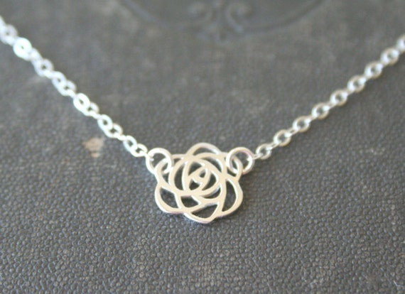 Sterling Silver Rose Silhouette Necklace - Simple everyday delicate dainty jewelry