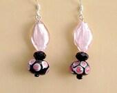 Pink and Black art deco lampwork dangle earrings