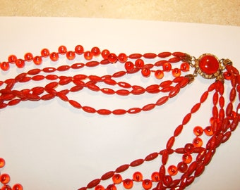 Unique vintage red, six strand necklace.