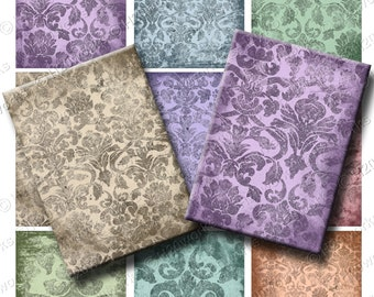 Damask Grunge ACEO Digital Backgrounds - (Set of 9) Purple, Green, Tan, Blue, Rose, Aqua, Teal, atc, Artist Trading Cards, INSTANT DOWNLOAD
