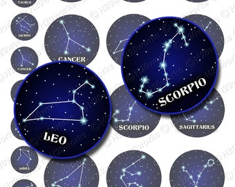 Zodiac Constellations, Zodiac Circles, Midnight Blue, Black, Astrology, Horoscope, Digital, Signs, Stars, Printable, INSTANT DOWNLOAD