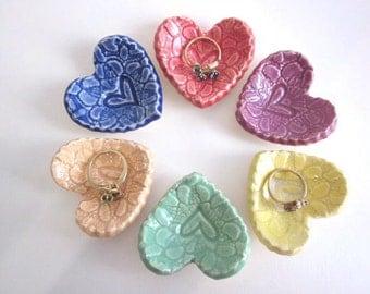 Bridal shower favor Heart ring dish Wedding favor Miniature ceramic