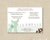 Baby Shower Invitation - Woodland Fawn with Polka Dots