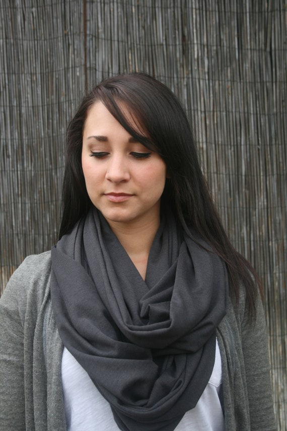 Jersey Knit Infinity Cowl Scarf Charcoal Gray