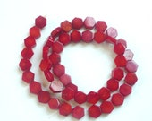 Red bamboo coral octagon  beads (10mm)