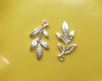 2pcs Sterling silver leaf  charms, leaf pendant   (21x10mm)
